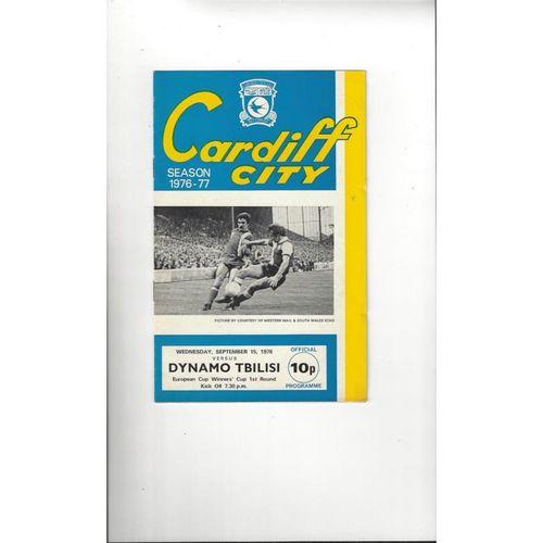 1976/77 Cardiff City v Dynamo Tbilisi ECWC Football Programme
