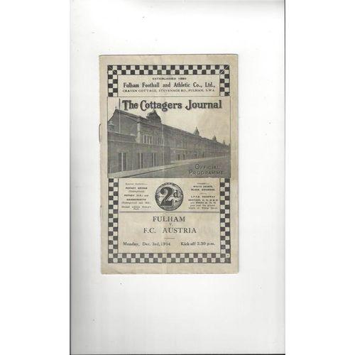 Fulham v FC Austria Friendly Football Programme 1934/35