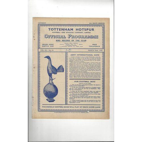 1948/49 Tottenham Hotspur v Fulham Reserves Football Programme
