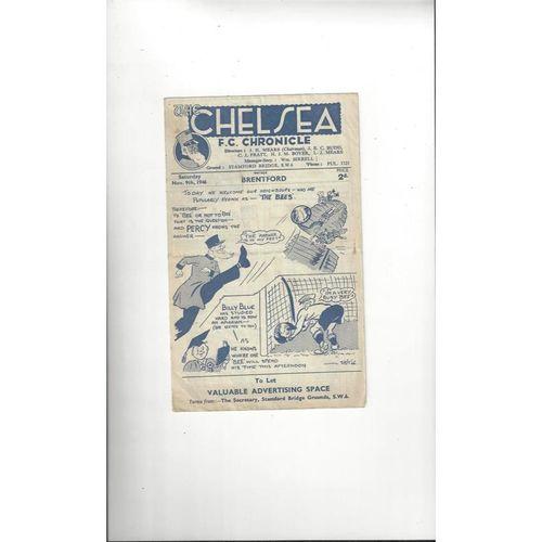 1946/47 Chelsea v Brentford Football Programme