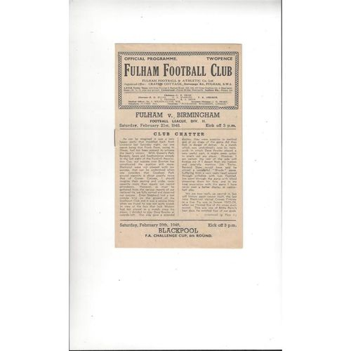 1947/48 Fulham v Birmingham City Football programme