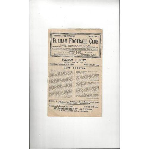1947/48 Fulham v Bury Football programme