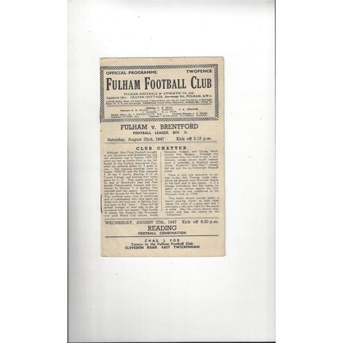 1947/48 Fulham v Brentford Football programme