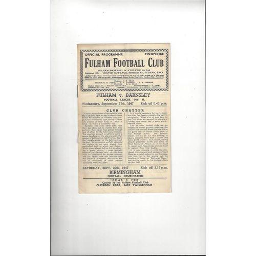 1947/48 Fulham v Barnsley Football Programme