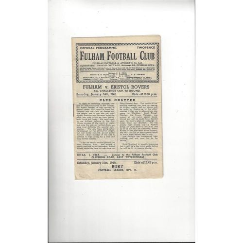 1947/48 Fulham v Bristol Rovers FA Cup Football Programme