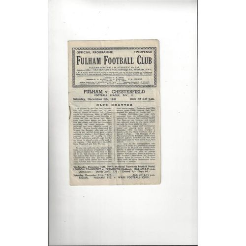 1947/48 Fulham v Chesterfield Football Programme