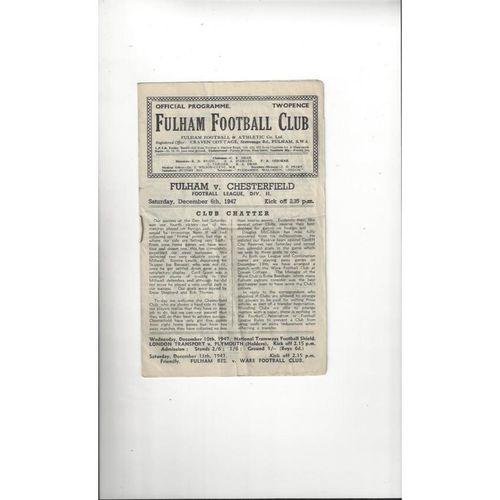 1947/48 Fulham v Chesterfield Football Programme