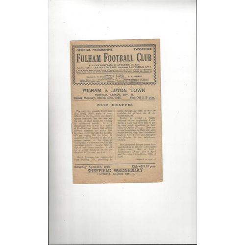 1947/48 Fulham v Luton Town Football Programme