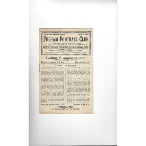 1947/48 Fulham v Leicester City Football Programme