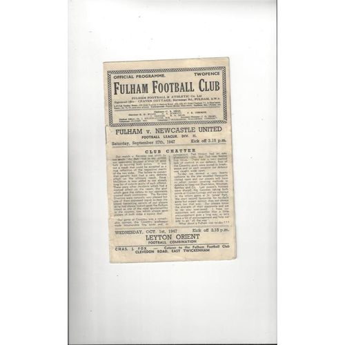 1947/48 Fulham v Newcastle United Football Programme