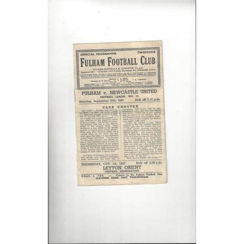 1947/48 Fulham v Newcastle United Football Programme
