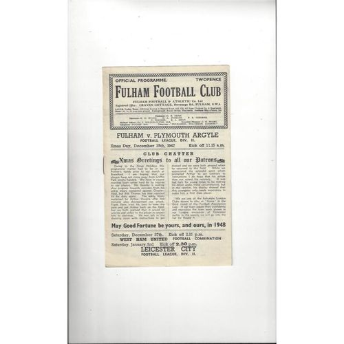 1947/48 Fulham v Plymouth Argyle Football Programme