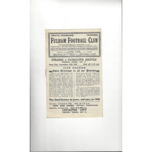 1947/48 Fulham v Plymouth Argyle Football Programme