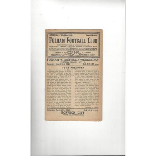 1947/48 Fulham v Sheffield Wednesday Football Programme