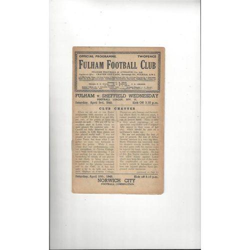 1947/48 Fulham v Sheffield Wednesday Football Programme