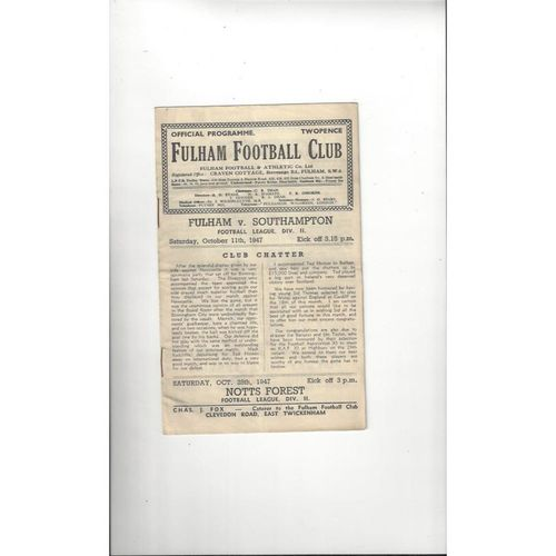 1947/48 Fulham v Southampton Football Programme