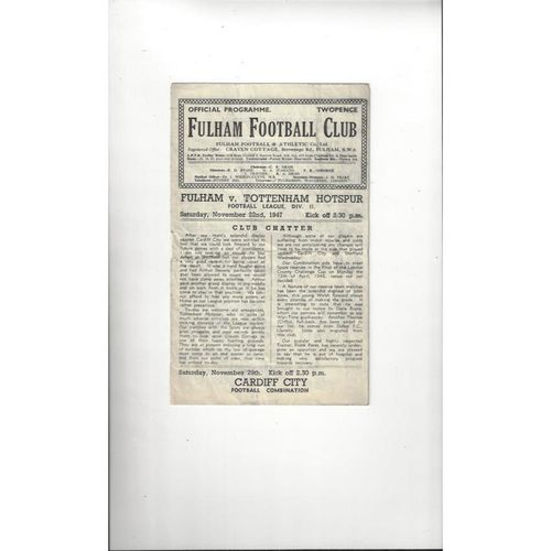 1947/48 Fulham v Tottenham Hotspur Football Programme