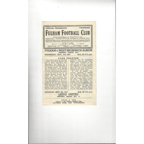 1947/48 Fulham v West Bromwich Albion Football Programme