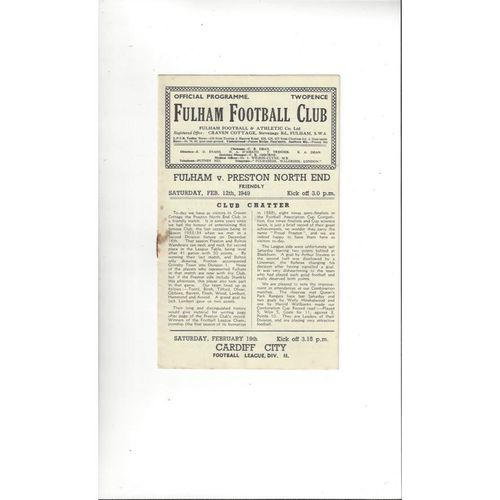 Fulham v Preston Friendly Football Programme 1948/49