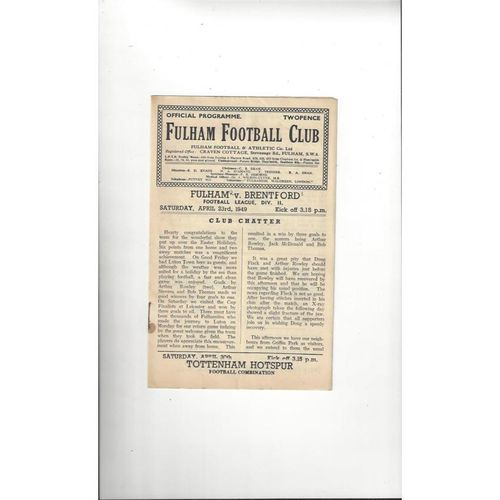 1948/49 Fulham v Brentford Football Programme