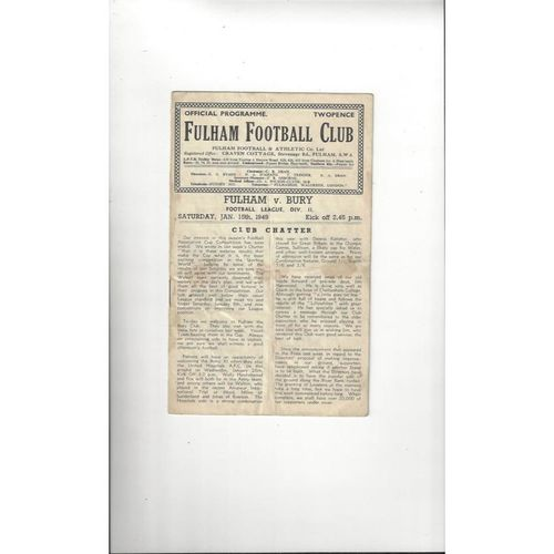 1948/49 Fulham v Bury Football Programme