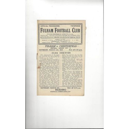 1948/49 Fulham v Chesterfield Football Programme