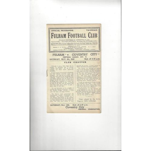 1948/49 Fulham v Coventry City Football Programme