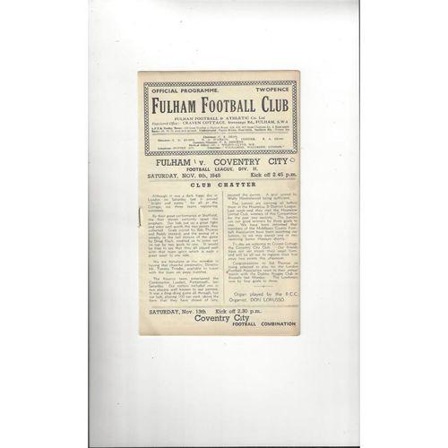 1948/49 Fulham v Coventry City Football Programme
