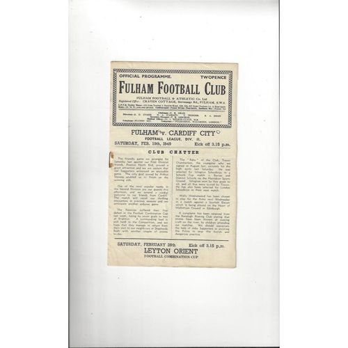1948/49 Fulham v Cardiff City Football Programme
