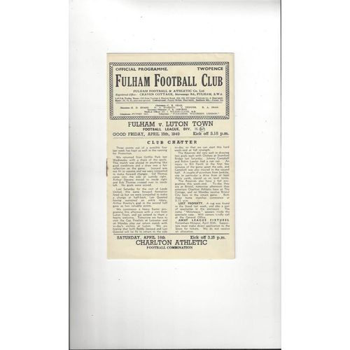 1948/49 Fulham v Luton Town Football Programme
