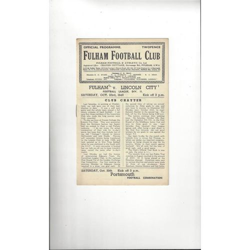 1948/49 Fulham v Lincoln City Football Programme