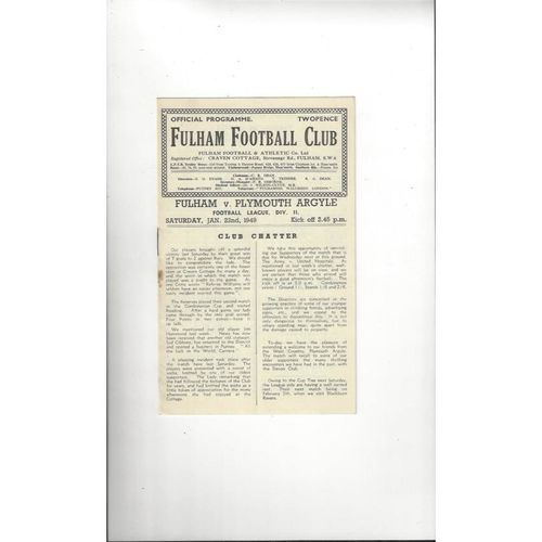 1948/49 Fulham v Plymouth Argyle Football Programme