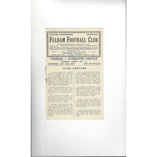 1948/49 Fulham v Plymouth Argyle Football Programme