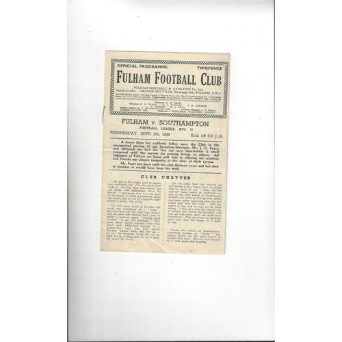 1948/49 Fulham v Southampton Football Programme