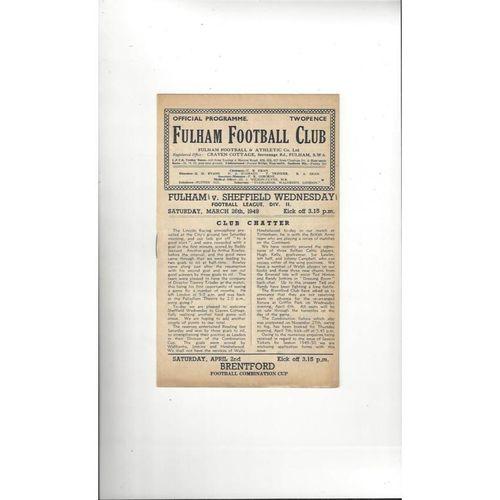 1948/49 Fulham v Sheffield Wednesday Football Programme
