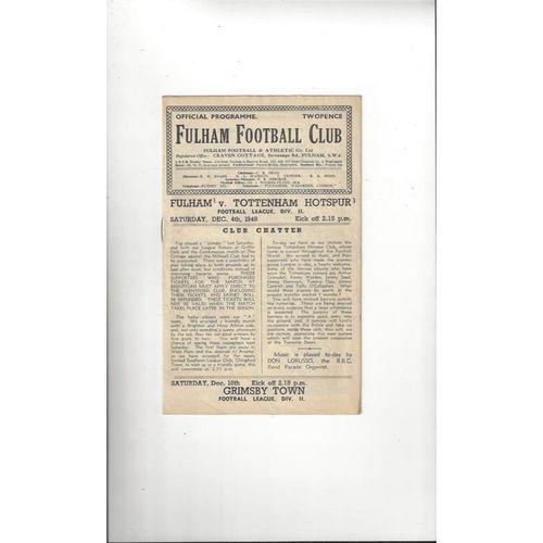 1948/49 Fulham v Tottenham Hotspur Football Programme