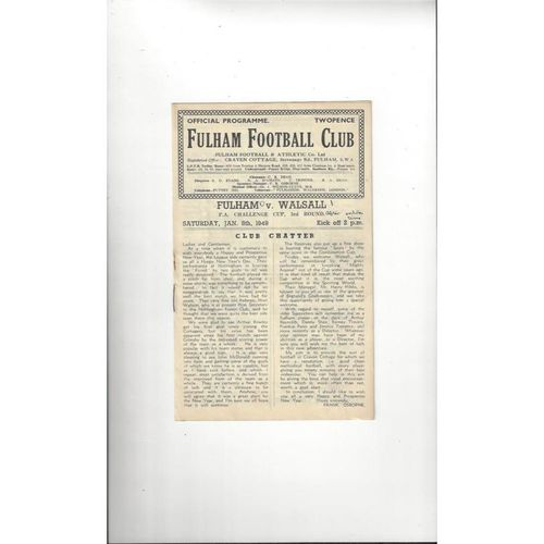 1948/49 Fulham v Walsall FA Cup Football Programme