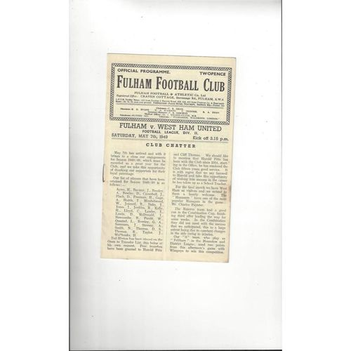 1948/49 Fulham v West Ham United Football Programme