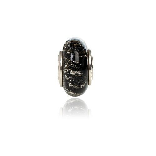 Black Cremation Glass Charm Bead