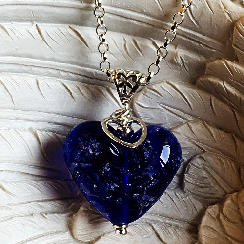 Cremation Glass Heart Pendant
