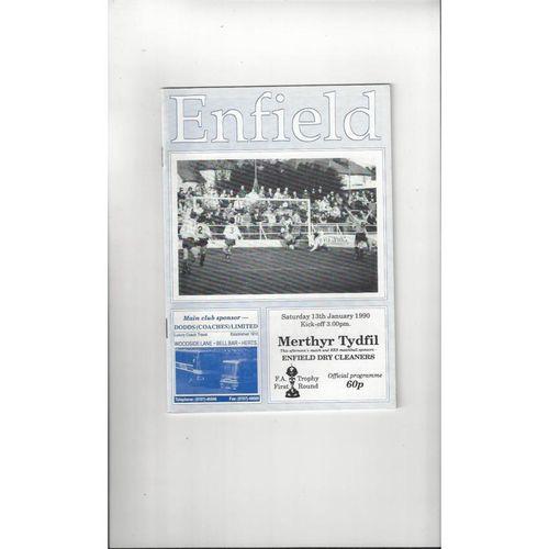 Enfield v Merthyr Tydfil FA Trophy Football Programme 1989/90