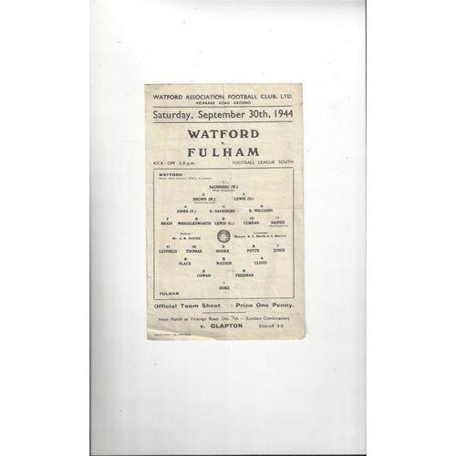1944/45 Watford v Fulham Football Programme