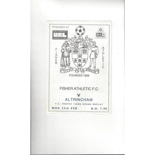 Fisher Athletic v Altrincham FA Trophy Replay Football Programme 1987/88