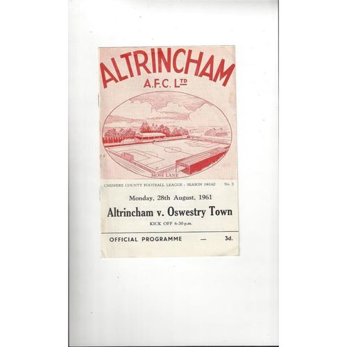 1961/62 Altrincham v Oswestry Town Football Programme