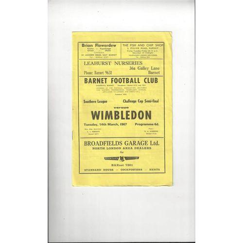 1966/67 Barnet v Wimbledon Challenge Cup Semi Final Football Programme