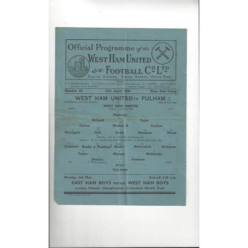 1945/46 West Ham United v Fulham Football Programme