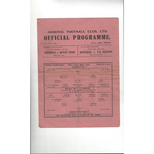 1945/46 Arsenal v Brentford Football Programme
