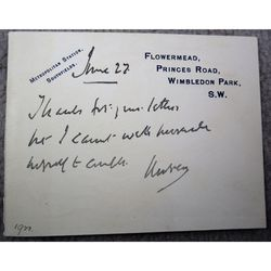 John  Morley 1921 Signed Card (Flowermead letterhead)