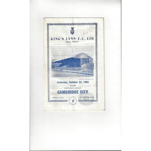 1966/67 Kings Lynn v Cambridge City Football Programme