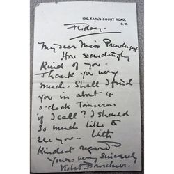 Violet Vanbrugh Bourchier Actress Signed (1893?) Letter